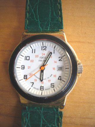 Fortis - Vintage Seltene Armbanduhr Lederarmband Kroko Optik Grün - Bild