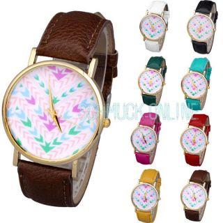 Bohemia Bunt Pfeil Wellig Damen Armbanduhr Quarzuhr Lederarmband Top Uhr Bild