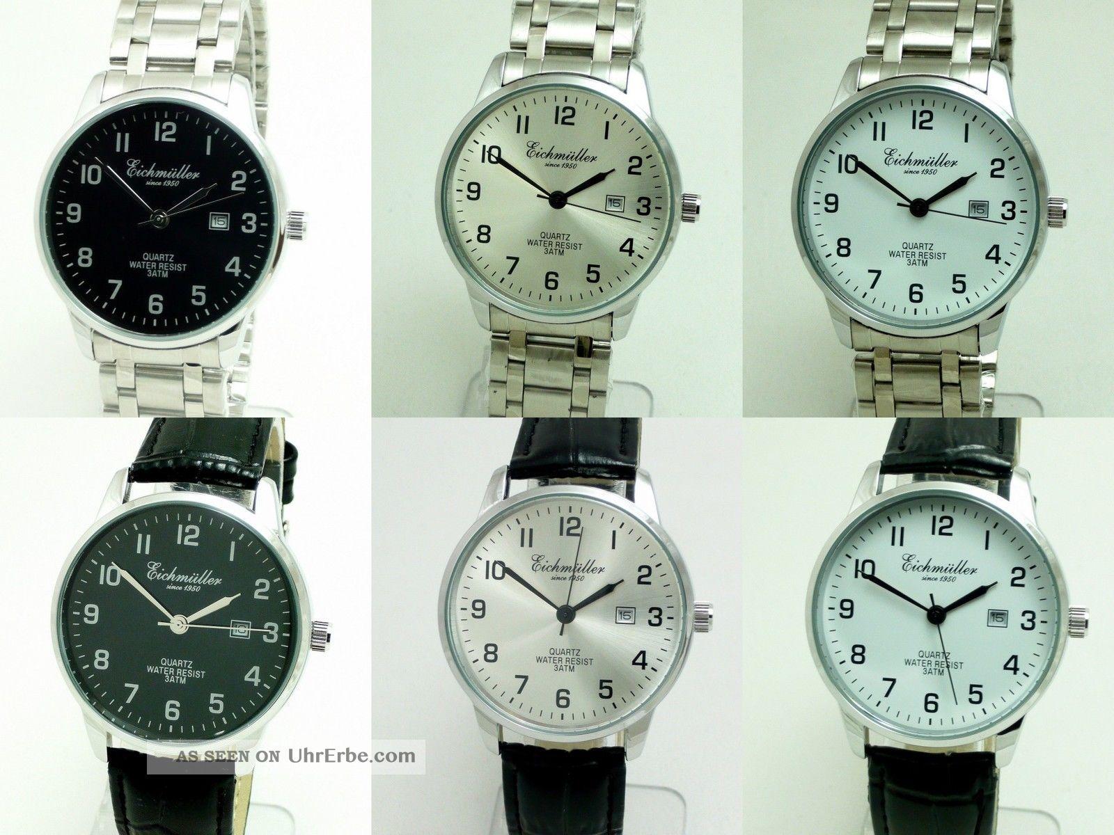 Eichmüller Damenuhr Leder Oder Metallband Classic Datum Verschiedene Modelle Armbanduhren Bild