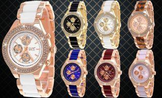 Designer Damenuhr,  Damen Strass Uhr,  Chronograph Stil,  Beige,  Weiß,  Schwarz,  Rose Gold Bild