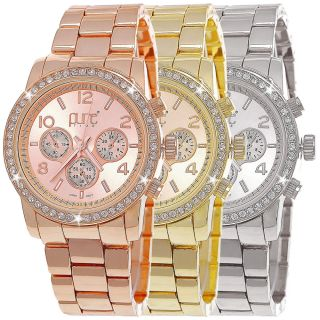Pure Time Designer Strass Damenuhr,  Damen Armband Uhr Chronograph Optik Rose Gold Bild