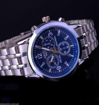 Feine Silberne Damen Armband Uhr 18mm Gliederband Silber/blue Mädchenuhr Bild