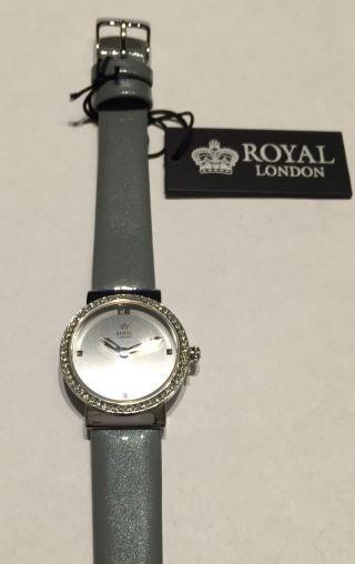 Damenuhr Royal London Modisch Edelstahl Steine Glänzendes Lederband Bild