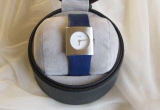 M&m Germany Armbanduhr Für Damen Edelstahlgehäuse Lederarmband Blau Design Kato Bild