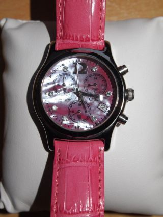 Christ Chronograph Quarzuhr Damen Pink Perlmutt Leder Zirkonia Edelstahl Nw Bild