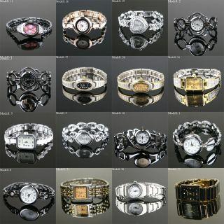 Edle Damenuhr Armbanduhr Uhr Uhren Damen Mit Strass Edelstahl Schwarz Watch Bild