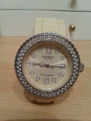 Armbanduhr Damen Creme Strass Silikon Madison York Bild