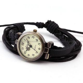 Weben Damenuhr Analog Quarz Uhr Schwarz Armreif Armbanduhr Kunstleder - D Bild