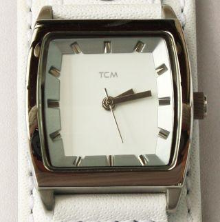 Damenuhr Tcm Lederarmband Weiß Breit Quarzwerk Mit Neuer Batterie Damen Uhr Top Bild