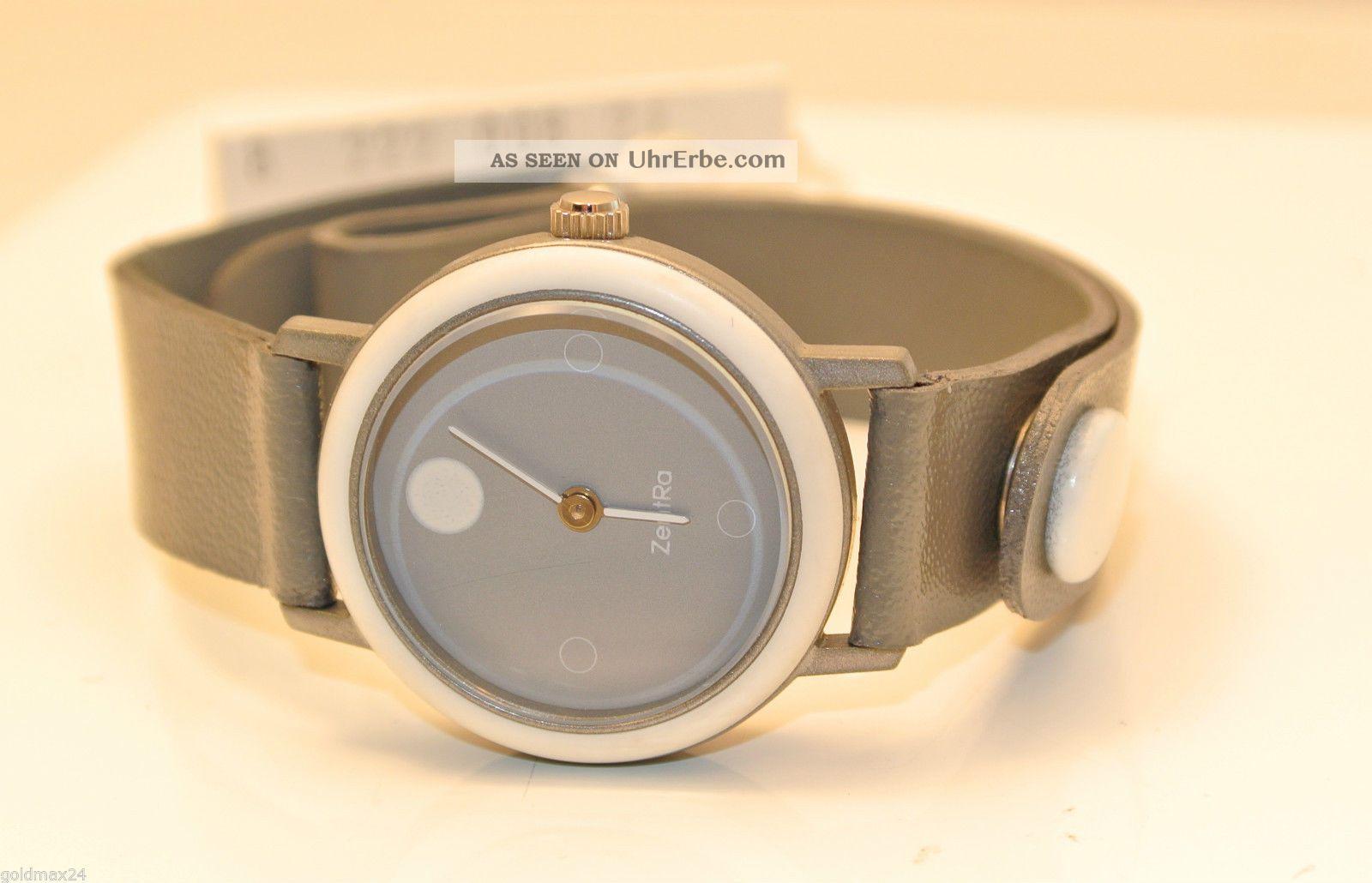 Zentra - Graue Damenarmbanduhr / Quarz / Lederarmband - Verstellbar Armbanduhren Bild