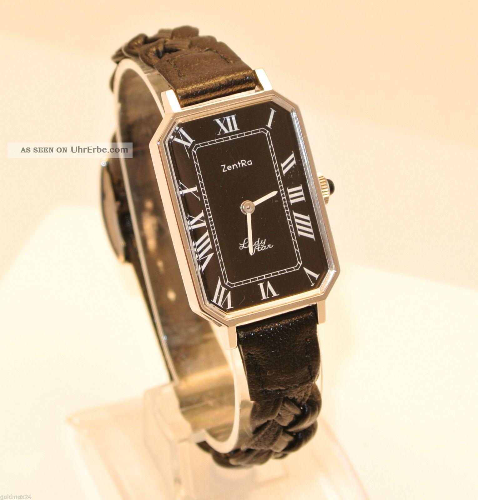 Zentra - Lady Star - Damenarmbanduhr / Handaufzug / Geflochtenes Lederarmband Armbanduhren Bild