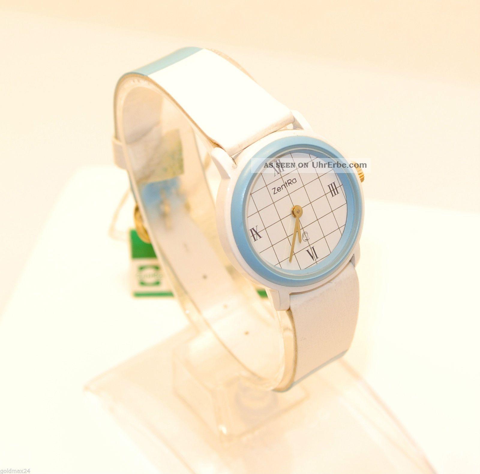 Zentra Q - Damenarmbanduhr In Blau/weiß / Quarz / Lederarmband Armbanduhren Bild
