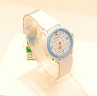 Zentra Q - Damenarmbanduhr In Blau/weiß / Quarz / Lederarmband Bild