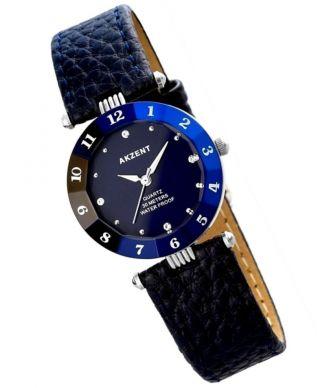 Akzent Strassuhr Armbanduhr In Farbe Blau Silber Dau Quarz Damenuhr Bild