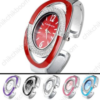 Lässig Damen Armbanduhr Oval Nebelfleck Quarzuhr Armreif Uhr Damenuhr Geschenk Bild