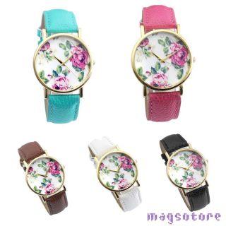 Damen Blumen Pu Leder Armbanduhr Quartz Watch Quarzuhr Quartz Quarz Uhr 5 Farbe Bild