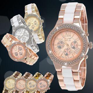 Designer Strass Damenuhr,  Damen Armband Uhr,  Chronograph Stil,  Beige,  Weiß,  Rose Gold Bild