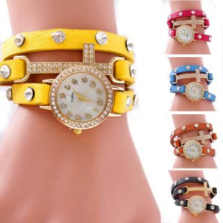 Hot Lady Girl Rhinestone Pu Leather Weave Wrap Strap Quartz Bracelet Wrist Watch Bild