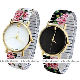 Fashion Damen Armbanduhr Uhr Gold Quarzuhr Elastisch Stahl Streifen Uhr Bild