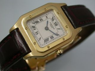 Seltene Feine Cartier Santos Klassik Gold 750 Faltschließe Handaufzug Kal.  21 Bild
