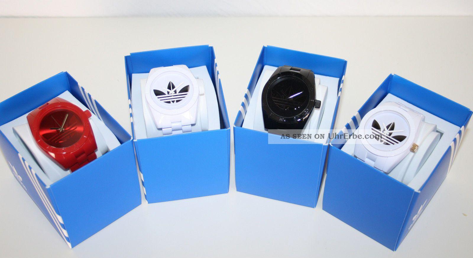 Adidas Uhr Trefoil Logo Armbanduhr Santiago Schwarz,  Weiß,  Rot Uvp 89,  00€ Armbanduhren Bild