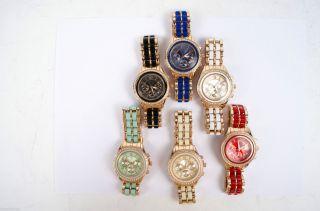 Designer Strass Damenuhr Armband Uhr Chronograph Optik Rose Gold Silber Uhr01 Bild