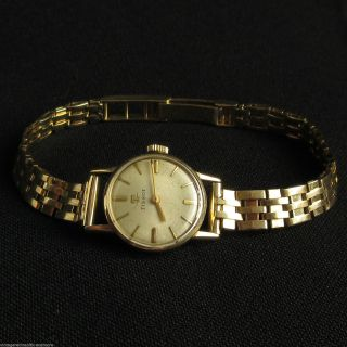 585 Gold Tissot Lady Armbanduhr 17 Jewels Handaufzug Gehäuse,  Armband 14k Gold Bild