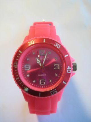 Damen Armbanduhr Uhr Pink Aus Silikon Bzw Gummi Mit Datumsanzeige Top Bild