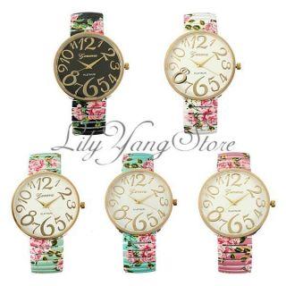 Retro Damenuhr Blumen Stahl Armbanduhr Spangenuhr Mädchen Quarzuhr Uhren Watch Bild
