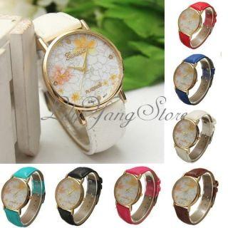 Damen Mädchen Armbanduhr Blume Genf Lederarmband Quarz Uhren Damenuhr Trend Bild
