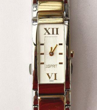 Damenuhr Esprit Lissomy Bicolor Edelstahl Armband Quarzwerk Neue Batterie,  Box Bild