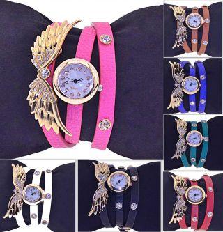 Uhr Armbanduhr Damenuhr Lederarmband Armband Engel Flügel Punk Strass Nieten Bild