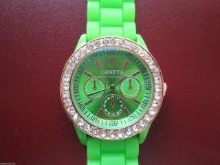 Designer Damenuhr,  Silikon Armband Uhr,  Strass,  Farbauswahl,  Gold Plattiert D58 Bild