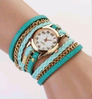 Fashion Rhinestone Synthetic Leather Sling Chain Quartz Wrist Watch Man Woman Ft Bild