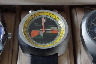 Sorna Chrono Weltzeituhr.  Chronograph,  Handaufzug,  70er Design Bild