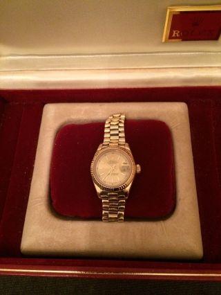 Rolex Lady Datejust Oyster Peretual 18 Kr Gold Klassiker Mit Box Und Zertifikat Bild