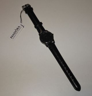 Pandora Uhr Fleur,  Lederarmband,  Silbern/schwarz Mit 4 Diamanten.  Uvp.  234€ Bild