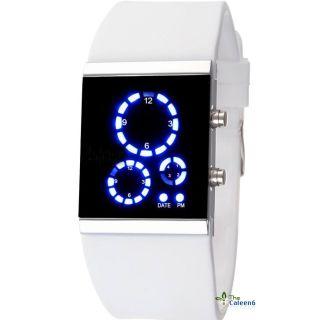 Neue Led Armbanduhren Silikon Modern Spiegelflächen Blaues Licht Mutifunktion Bild