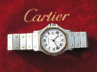 Cartier Santos Octagon Homme Armbanduhr Stahl/gold Automatik Ca.  1985 /mka58 Bild