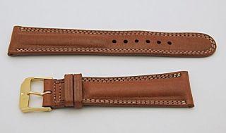 Movado Westlichen Gepolsterte Lederband Braun - Größe 20r Bild