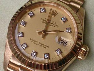 Rolex Lady Datejust Gold 18k,  Wie,  Rolex - Brillant - Zifferblatt Bild