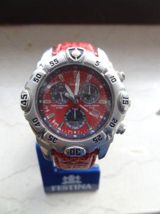 Festina Tourchrono 2002 Rot Chronograph 16053 Sammlerstück Bild