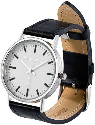 Pearl Armbanduhr Mit 2 Kunstleder - Armbändern,  Schwarz & Weiß Bild