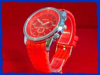 Neue Quarz Armbanduhr In Trendigem Rot/chrom Wunderschön Bild