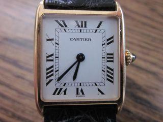 Extrem Seltene Cartier Tank Arrondie Handaufzug Mit Faltschließe,  18 Karat Bild