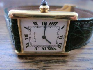 Cartier Tank Handaufzug,  Flache Uhr Mit Faltschließe,  18 Karat Gold Bild