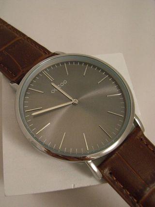 Oozoo Uhr Ultra Slim C6941 Ø Ca.  40 Mm Vintage Braun/ Croco Neuheit Armbanduhr Bild