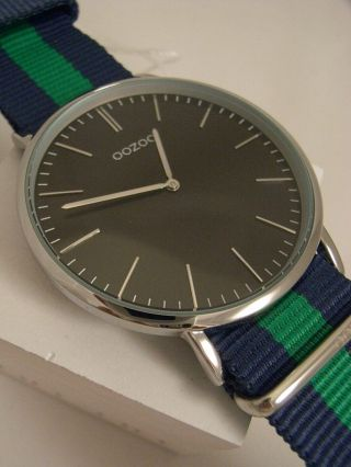 Oozoo Uhr Ultra Slim C6913 Ø Ca.  44 Mm Vintage Blau/ Grün Neuheit Armbanduhr Bild