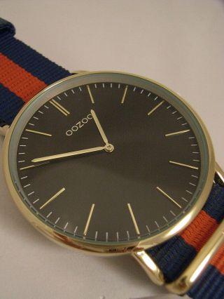 Oozoo Uhr Ultra Slim C6922 Ø Ca.  44 Mm Vintage Blau/ Rot Neuheit Armbanduhr Bild