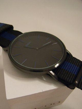 Oozoo Uhr Ultra Silm C6938 Ø Ca.  44 Mm Vintage Schwarz/ Blau Neuheit Armbanduhr Bild
